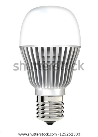 LED lamp mounted in  E27 socket - stock photo