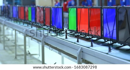 LED LCD TV factory production, LED LCD TV manufacturing and testing lab Foto d'archivio ©