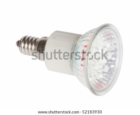 Led light bulb isolated on white background with clipping path