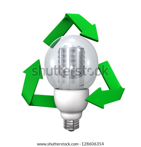 LED Light with green recycling symbol. White background.