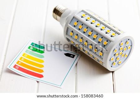 LED lightbulb with energy label on white wooden background