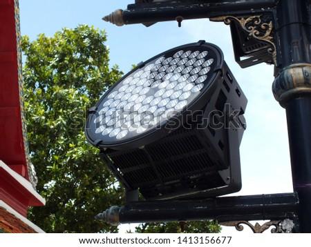 LED lighting illuminates the building.( Close-up ) #1413156677