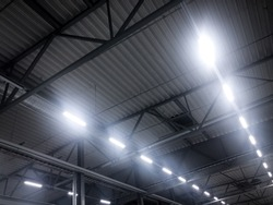 Led lights in an industrial hall