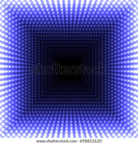 LED mirror abstract square background. Blue blazing lights fading to the center.