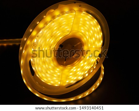 Led silicon shining strip in coil. Diode lights closeup