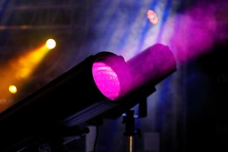 LED stage profile spotlight fixtures and smoke. Ellipsoidal reflector spotlight.