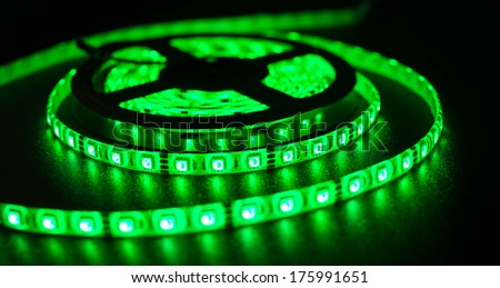 LED strip for decoration of interiors and buildings, light green at the moment
