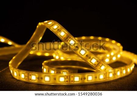 LED strip for illuminating the warm spectrum, decorative LED light close up. #1549280036