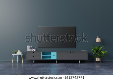 LED TV on the dark wall in living room,minimal design,3d rendering
