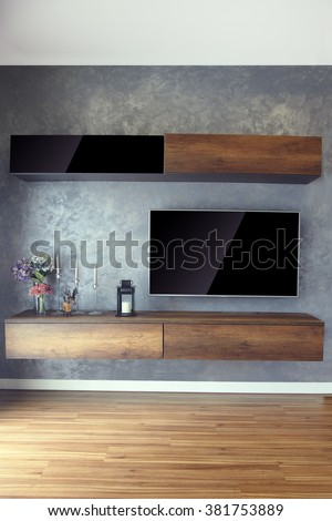 Led TV on the wall with wood furniture and wood floor in loft style living room. tv, television, lcd, led, big screen, blank screen, empty room, concrete wall, tv stand, candles, plant pot