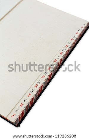 Ledger Book/ opened at the index pages to show the alphabet and lettering