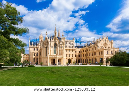 LEDNICE, CZECH REPUBLIC - AUGUST 10: The palace Lednice-Valtice complex is the largest complex of its type in the world. World Heritage Site by UNESCO; August 10, 2012 in Lednice, Czech Republic.