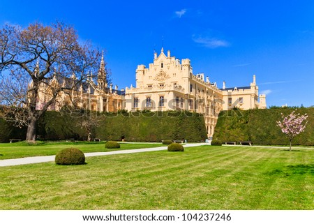 Lednice palace is one of the most impressive and most visited sights in the Czech Republic - stock photo