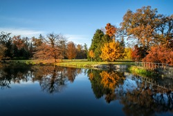 Lednice Valtice area - chateau park in autum reflection in lake water