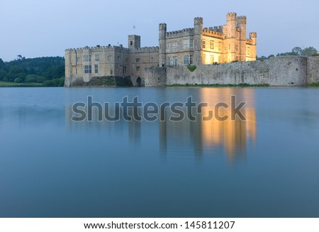 Leeds Castle mirrored in surrounding Water
