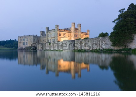Leeds Castle mirrored in surrounding Water