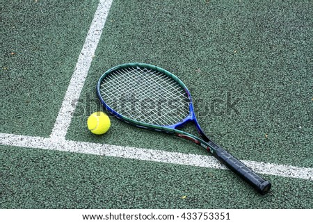 Leeds Uk May 24 2016 Tennis Ball And Racket On A Hard Court With