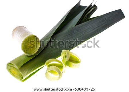 Leek cut into pieces. Studio Photo #638483725