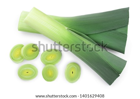 Leek vegetable closeup isolated on white background. Top view. Flat lay Сток-фото ©