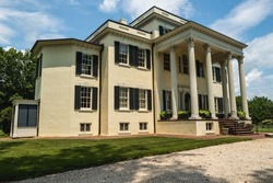 Leesburg, VA, USA -- .A wide angle photo of the historic Oatlands Mansion on a hot summer day in Leesburg, VA.