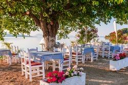 Lefkada, Greece. Seaside taverna on a sunny morning.