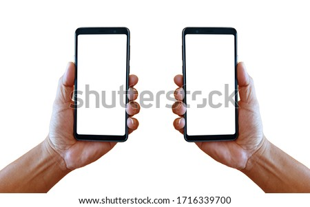 Left and right hand holding smartphones isolated on white background.