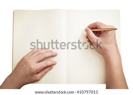 left and right hand writing with pen isolated on white ( clipping path )