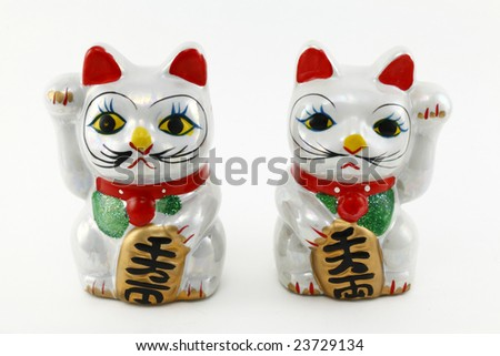 Left and right handed ceramic lucky cats