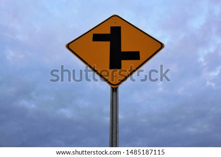 Left and right intersecting roads sign #1485187115