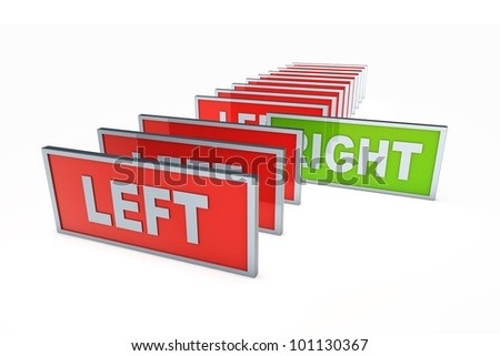 Left and right. Political directions. 3D rendered illustration, Isolated on white.