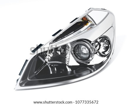 Left car headlight isolated on white background. 3D illustration.