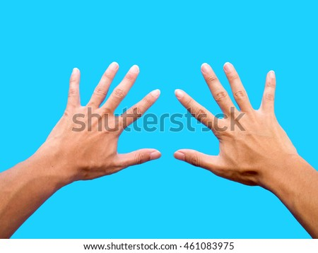 left hand and right hand isolated on blue background