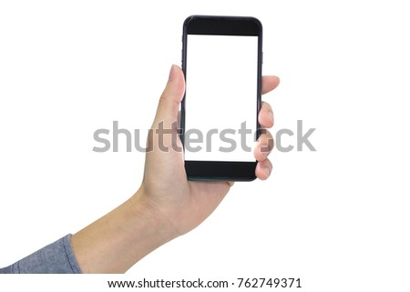 Left hand holding mobile phone isolated on white background. #762749371