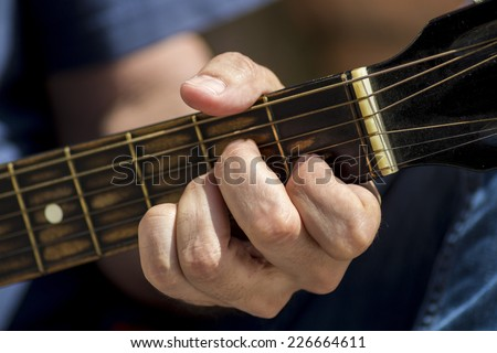 Left hand position of basic chord on the old classic guitar | EZ Canvas