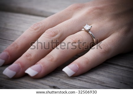 Left Hand With Engagement Ring Stock Photo 32506930 Shutterstock