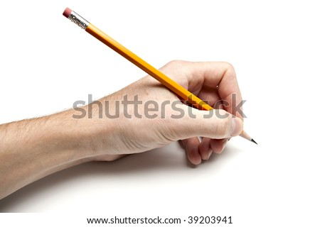 Left Hand Writing with Pencil - stock photo
