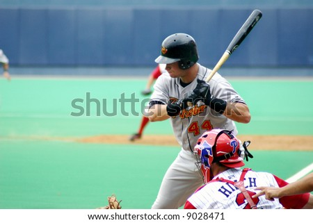 Left-handed batter waiting for the pitch, high key