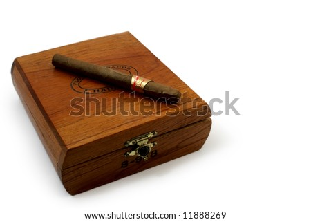 left last cigar on brown wooden box