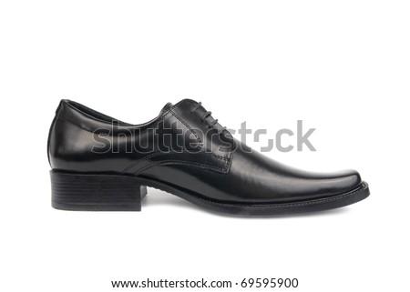 Left man's black shoe isolated on white background