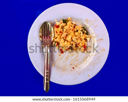 left over food on the plate with blue background ストックフォト ©