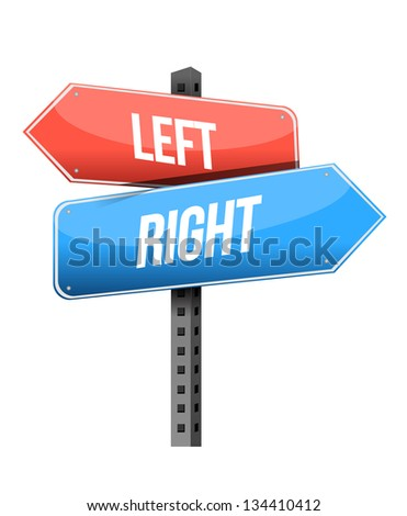 left, right road sign illustration design over a white background