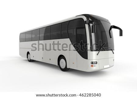 Left Side - Bus Mock Up on White Background, 3D Illustration