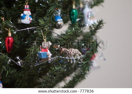 left side of christmas tree with ornaments