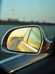 Left side's rear vision mirror of the car