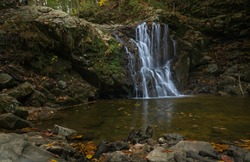 Left side view of Cascade Falls at Patapsco State Park Avalon area.