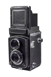 left side vintage camera medium format use film 120mm. on white background with clipping path.