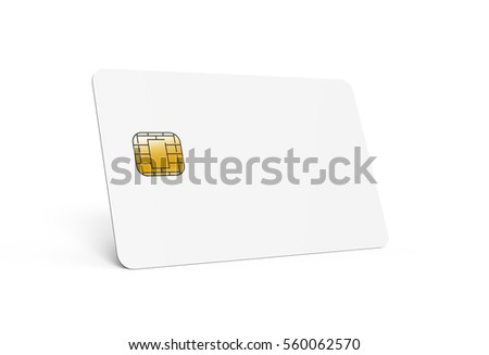 left tilt blank chip card, which can be designed in any way, isolated gray background, 3d rendering Stock fotó ©