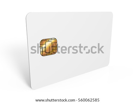 left tilt blank chip card, which can be designed in any way, isolated white background, 3d rendering Stock fotó ©