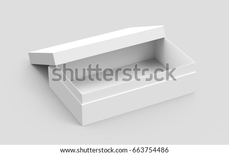 left tilt white 3d rendering blank rectangular open box with box separate lid, isolated gray background, elevated view