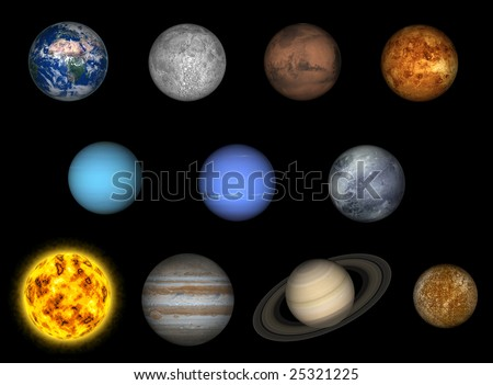stock photo : Left to right: earth, moon, mars, venus, uranus